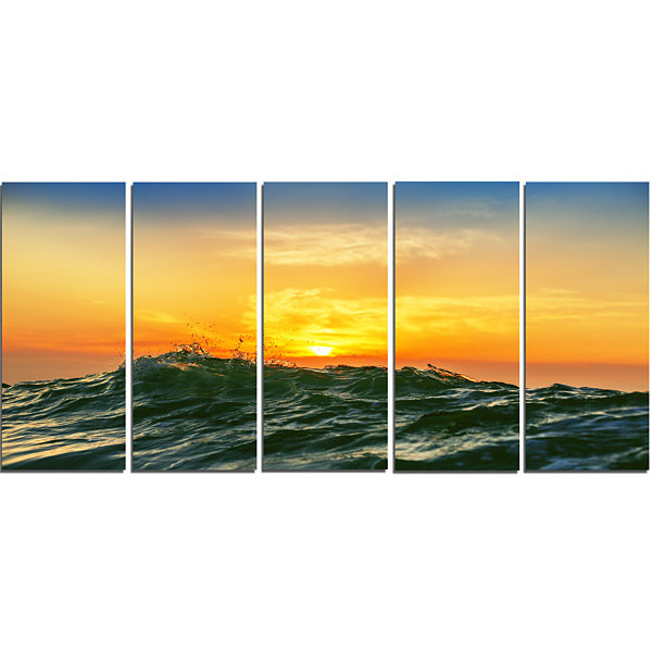Designart Bright Sunlight and Glowing Waves BeachPhoto Canvas Print - 5 Panels
