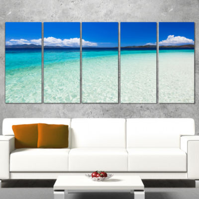 Designart Vacant Beach with Turquoise Water Seascape WrappedArt Print - 5 Panels