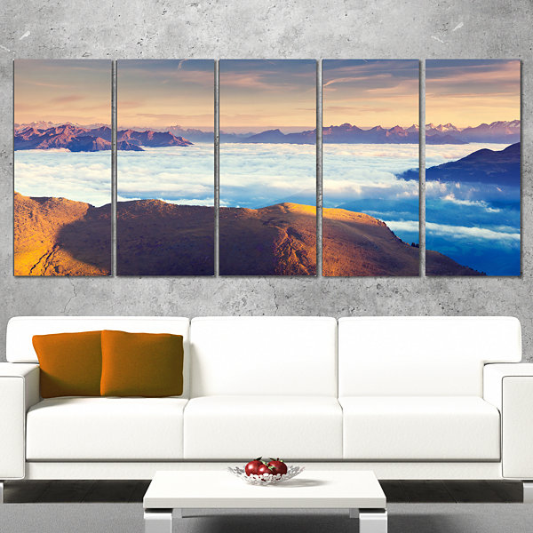 Designart Val Gardena Valley Panorama Extra LargeSeashore Wrapped Art - 5 Panels