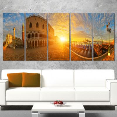 Designart Bright Sunrise in Italy Panorama Cityscape Wrapped Canvas Art Print - 5 Panels