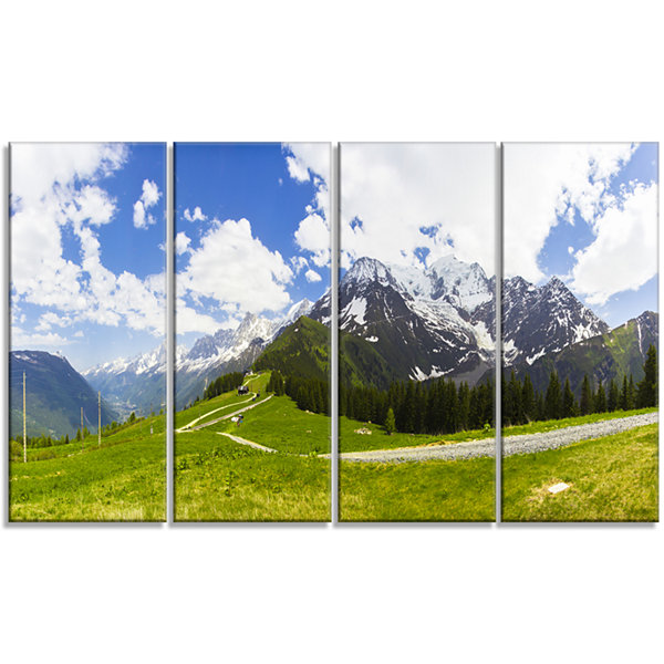 Designart Valley in French Alps Panorama LandscapeArtwork Canvas - 4 Panels