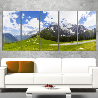 Designart Valley in French Alps Panorama LandscapeArtwork Wrapped - 5 Panels