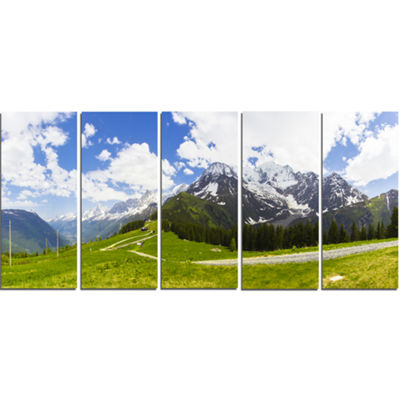 Designart Valley in French Alps Panorama LandscapeArtwork Canvas - 5 Panels