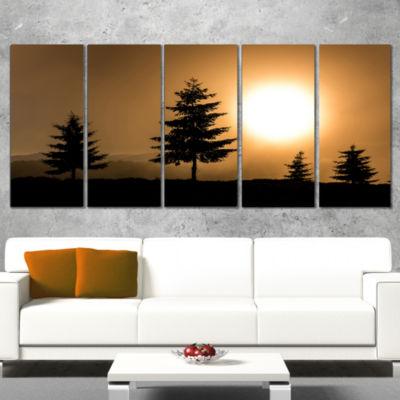 Designart Bright Sunrise Tree Silhouette LandscapeWrapped Canvas Art Print - 5 Panels