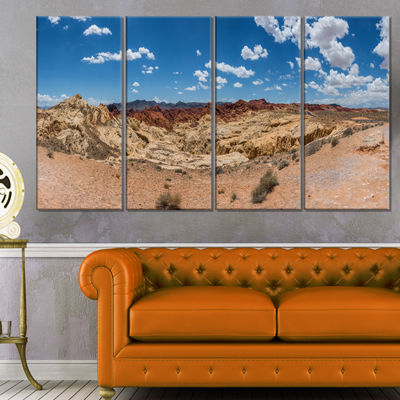 Designart Valley of Fire Landscape Panorama Landscape CanvasArt Print - 4 Panels