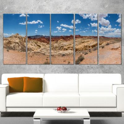 Designart Valley of Fire Landscape Panorama Landscape Wrapped Art Print - 5 Panels