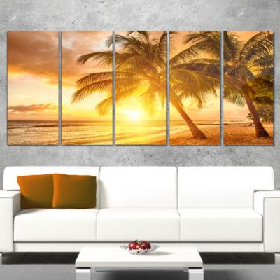 Designart Bright Sunset at Barbados Island ModernSeascape Canvas Artwork - 4 Panels