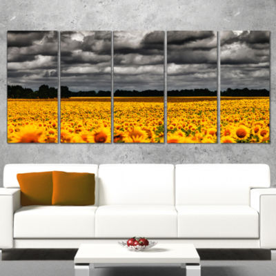Designart Van Gogh Summer with Clouds Landscape Artwork Wrapped - 5 Panels