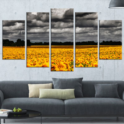 Designart Van Gogh Summer with Clouds Landscape Artwork Wrapped - 5 Panels