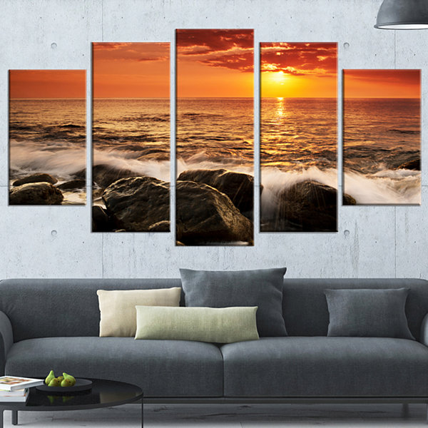 Designart Bright Sunset Over Rocky Shore Modern Seashore Wrapped Canvas Art - 5 Panels