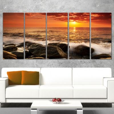 Designart Bright Sunset Over Rocky Shore Modern Seashore Canvas Art - 5 Panels