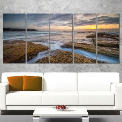 Designart Bright Sydney Coastline View Seascape Wrapped Canvas Art Print - 5 Panels