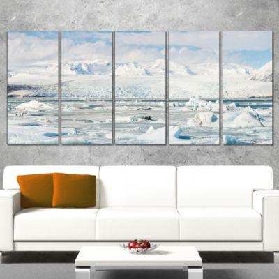 Designart Vatnajokull Glacier in Iceland LandscapeCanvas Art Print - 5 Panels