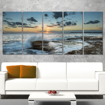 Designart Bright Sydney Sunset Over Sea SeascapeCanvas Art Print - 5 Panels