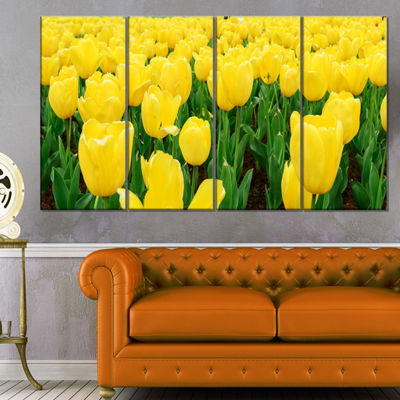 Designart Bright Tulip Flowers in Garden Floral Canvas Art Print - 4 Panels