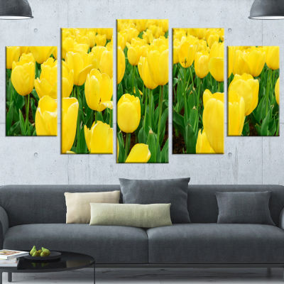 Designart Bright Tulip Flowers in Garden Floral Wrapped Canvas Art Print - 5 Panels