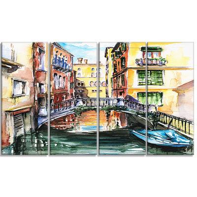 Designart Venice Canal Meeting Bridge Cityscape Canvas Art Print - 4 Panels