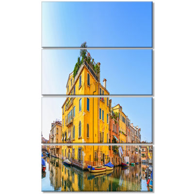 Designart Venice Cityscape Water Canal Abstract Canvas Artwork - 4 Panels