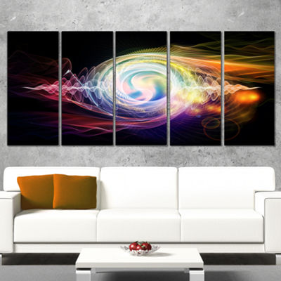 Designart Bright Wave Particle in Air On Black Large Abstract Canvas Wall Art - 5 Panels