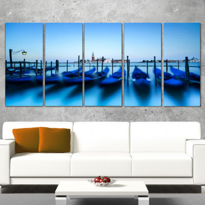 Designart Venice Gondolas at Blue Sunset Extra Large Seashore Canvas Art - 5 Panels