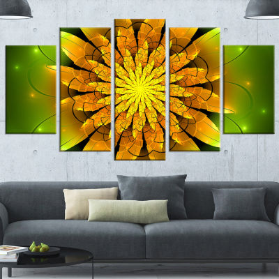 Designart Bright Yellow Fractal Flower On Green Floral Canvas Art Print - 4 Panels