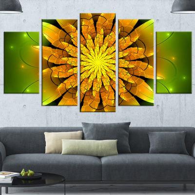 Designart Bright Yellow Fractal Flower On Green Floral Canvas Art Print - 5 Panels