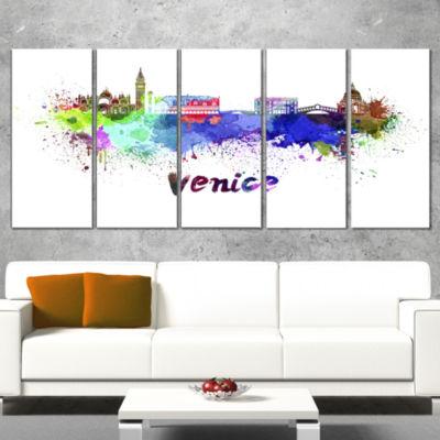 Designart Venice Skyline Large Cityscape Canvas Art Print -5 Panels