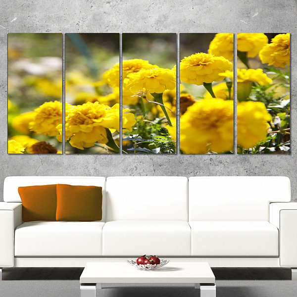 Designart Bright Yellow Marigold Flowers Floral Canvas Art Print - 4 Panels