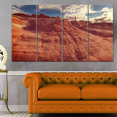 Designart Vermilion Cliffs at Sunrise Oversized Landscape Canvas Art - 4 Panels
