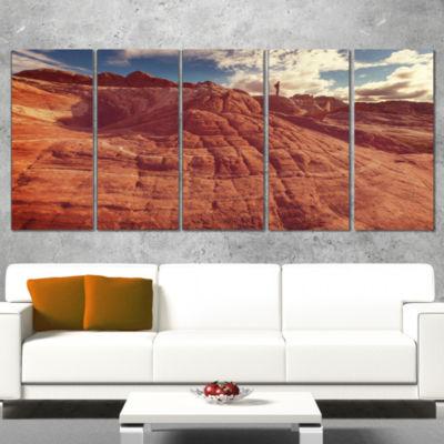 Designart Vermilion Cliffs at Sunrise Oversized Landscape Wrapped Art - 5 Panels