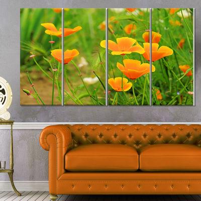 Designart Bright Yellow Poppy Flowers Floral Canvas Art Print - 4 Panels