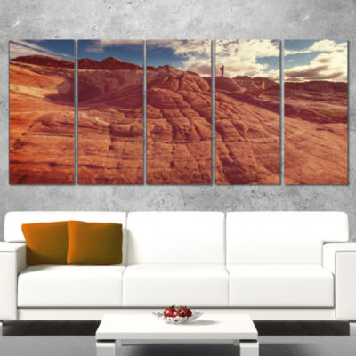 Designart Vermilion Cliffs at Sunrise Oversized Landscape Canvas Art - 5 Panels