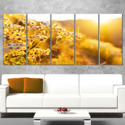 Designart Bright Yellow Rural Garden Flowers Floral Wrapped Canvas Art Print - 5 Panels