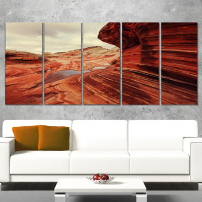 Designart Vermillion Cliffs at Dawn View OversizedLandscapeWrapped Art - 5 Panels