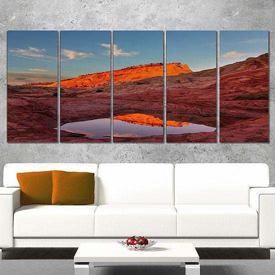 Designart Vermillion Cliffs Lake in Morning Oversized Landscape Canvas Art - 4 Panels