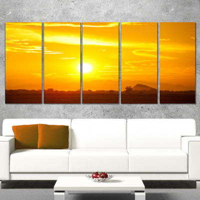 Designart Bright Yellow Sky at Sri Lanka Sunset African Landscape Wrapped Canvas Art Print - 5 Panels