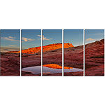 Designart Vermillion Cliffs Lake in Morning Oversized Landscape Canvas Art - 5 Panels