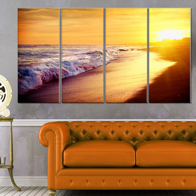 Designart Bright Yellow Sky with Foam Waves LargeSeashore Canvas Print - 4 Panels