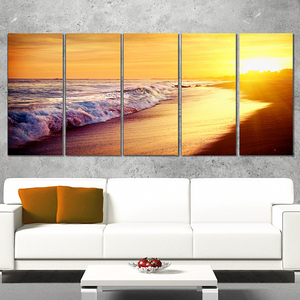 Designart Bright Yellow Sky with Foam Waves LargeSeashore Canvas Print - 5 Panels