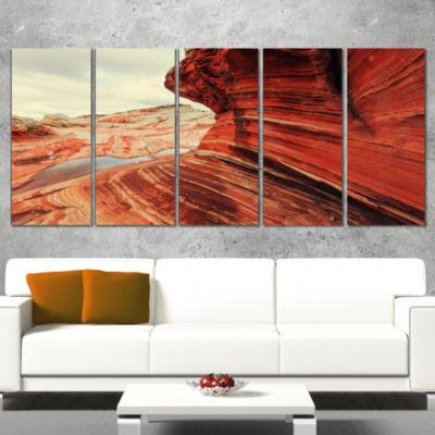 Designart Vermillion Cliffs Lake View Oversized Landscape Canvas Art - 5 Panels
