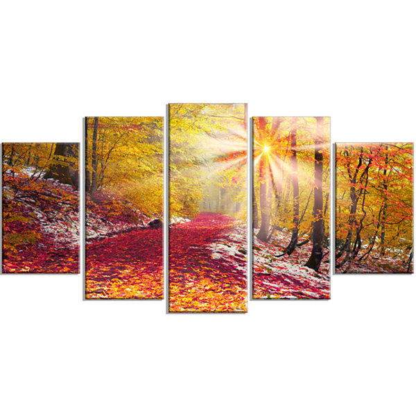Designart Bright Yellow Sun in Alpine Forest Landscape Photography Canvas Print - 4 Panels