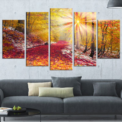Designart Bright Yellow Sun in Alpine Forest Landscape Photography Canvas Print - 5 Panels