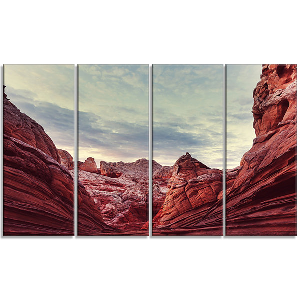 Designart Vermillion Cliffs National Monument ParkLandscapeWall Art on Canvas - 4 Panels