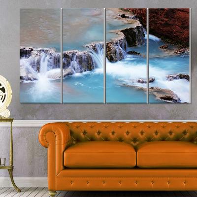 Designart Bright Yellow Sunrise Over Lake Large Seashore Canvas Print - 4 Panels