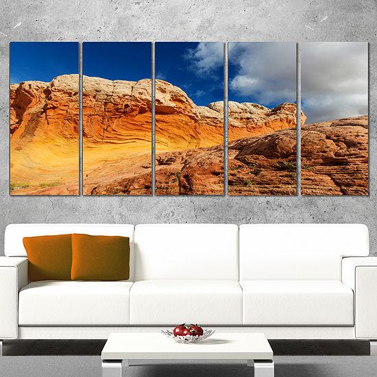 Designart Vermillion Cliffs Under Blue Sky Oversized Landscape Canvas Art - 4 Panels