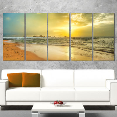 Designart Bright Yellow Sunset Beach Panorama Modern Seascape Wrapped Canvas Artwork - 5 Panels