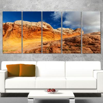 Designart Vermillion Cliffs Under Blue Sky Oversized Landscape Canvas Art - 5 Panels