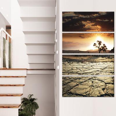 Designart Bright Yellow Sunset in Sri Lanka ExtraLarge Landscape Canvas Art - 4 Panels