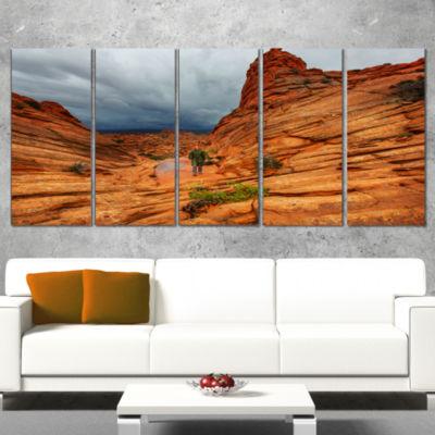 Designart Vermillion Cliffs Wilderness Oversized Landscape Wrapped Art - 5 Panels