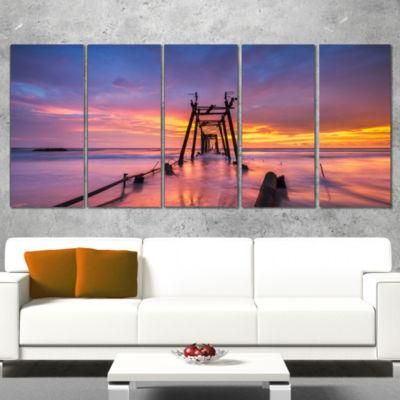 Designart Broken Wooden Bridge at Sunset Pier Seascape Wrapped Canvas Art Print - 5 Panels